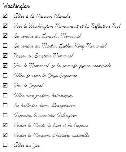 Mademoiselle paresse Washington Liste